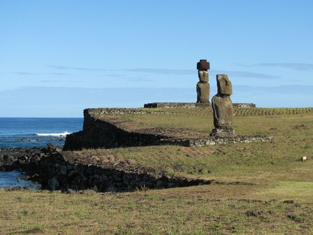 Moais on Ahu Tahai on the Easter Island Stock Photo