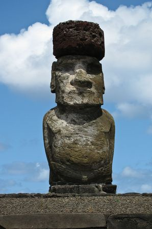 Giant moai statue on Easter Island Stock Photo