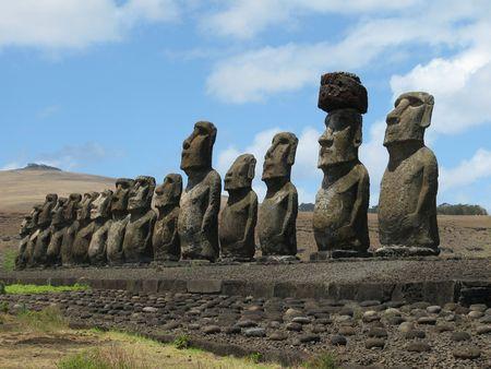 15 stone statues on Tongaraki, Rapa Nui (Easter Island)