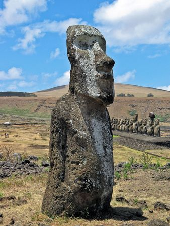 Single moai on Ahu Tongariki. Easter Island. Stock Photo