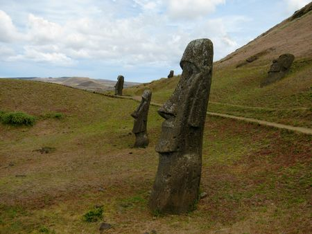 Giant statues on Easter Island.