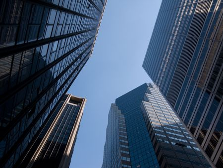 High modern skyscrapers on a background of the blue sky Stock Photo