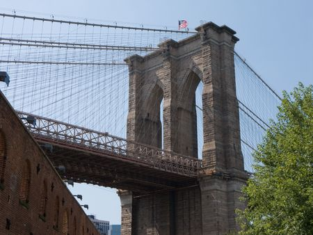 View of Brooklyn Bridge Stock Photo