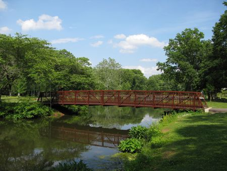 Wooden bridge in park