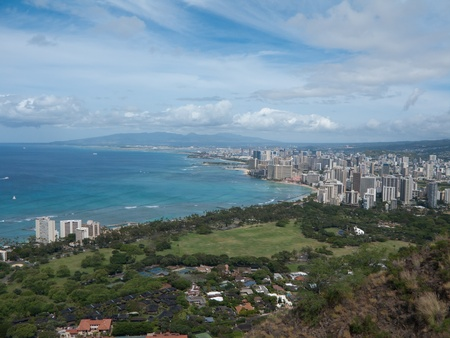 View of Downtown Honolulu from Diamond Head Crater