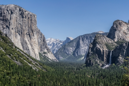 Bridalveil Falls, Half Dome, and El Capitan from Tunnel View, Yosemite National Park Stock Photo