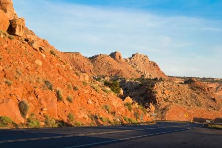 A highway through mountains, Utah