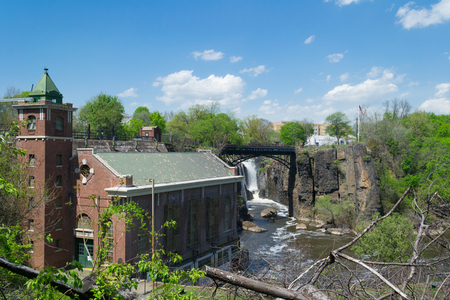 Old brick power generating station at the Passaic river and Paterson Great Falls. Stock Photo