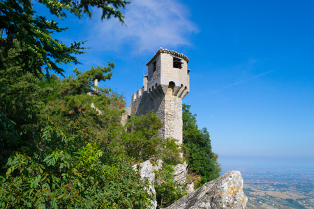 Medieval La Cesta tower of Mount Titan in San Marino. Italy.