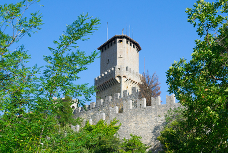 Guaita tower of Mount Titan in San Marino. Stock Photo