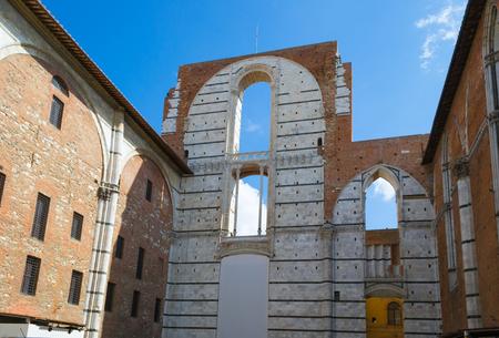 Old wall ruin. Siena, Italy.
