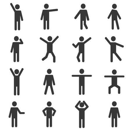 Isolated Stick Figures. Icons of people. Vector illustration. Poses of people.