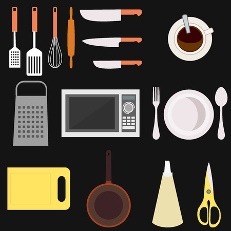 grater: Set of kitchen utensil and collection of cookware icons, cooking tools and kitchenware equipment. Different kitchenware and kitchen utensil tools. Kitchen utensil home food cooking