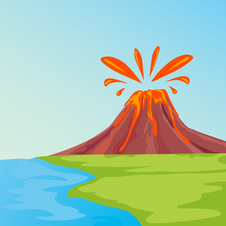 A landscape with erupting volcano and green grass against the blue sky. Nature vector illustration