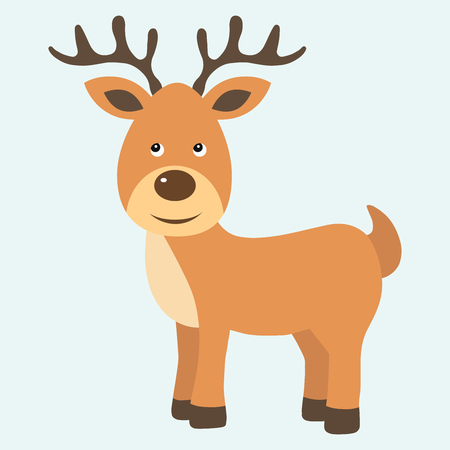 Cute Brown Cartoon Reindeer. Christmas or New Year Greeting Vector Illustration.