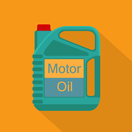 Picture of motor, engine oil tank, flat style icon with long shadow. Service concept and repair. Engine oil canister.