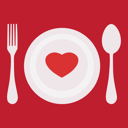 Menu of Love! Heart on a plate. Template for design. Illustration