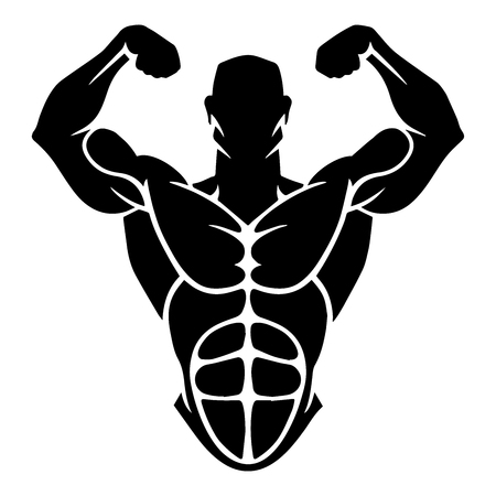 Bodybuilder Logo Template. Vector object and Icons for Sport Label, Gym Badge, Fitness Logo Design, Emblem Graphics.Sport Symbol, Exercise Logo, Woman Holding Weight Silhouette. Illustration