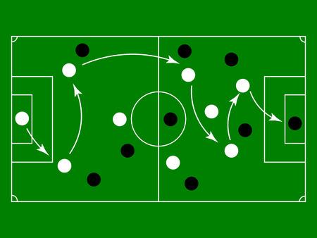 Fußball- oder Fußballspielstrategieplan, Fußball-Taktiktabelle. Vektor-Illustration Vektorgrafik
