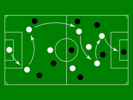 Soccer or football game strategy plan, Soccer Tactic Table. Vector Illustration