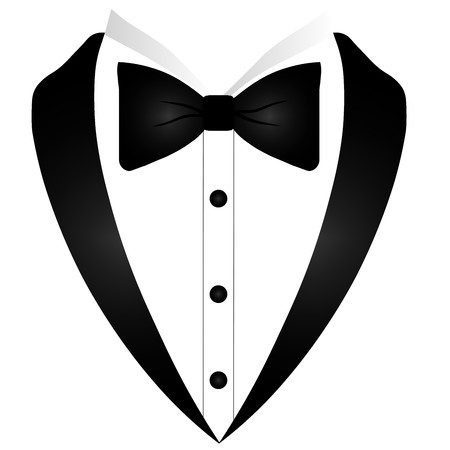 Mans jacket. Tuxedo. Wedding suit with bow tie. Vector illustration