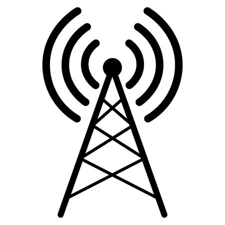 Antenna icon flat. Simple vector symbol.Black transmitter icon on white background