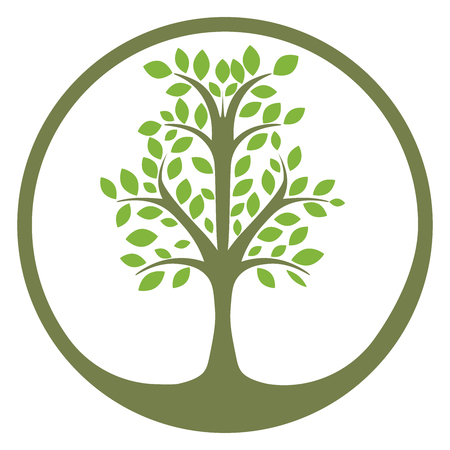 Vector tree logo, abstract organic design element, eco and bio circle badge