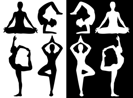 A woman performing various yoga poses in silhouette.