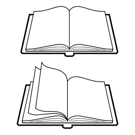 Vector black book icon on white background