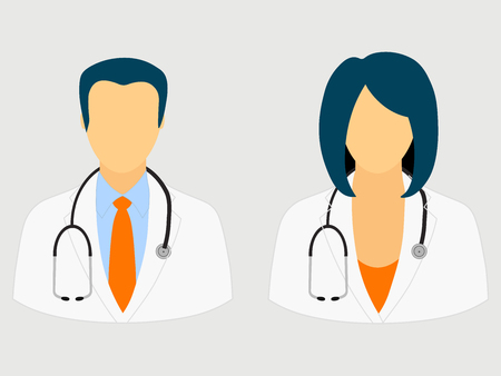 Doctor icons isolated on gray background Vector illustration. Stock Illustratie