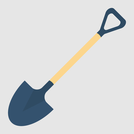 Shovel, spade icon isolated on white background. Garden tool, equipment for farm. Spring work. Vector flat design Stock Illustratie