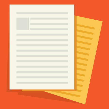 Documents icon. Stack of paper sheets. Confirmed or approved document. Flat illustration isolated on color background. Stock Illustratie
