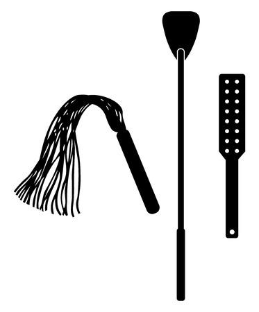 Spanking accessoire. Accessoire tool speelgoed voor BDSM. Geïsoleerd op witte vectorillustratie