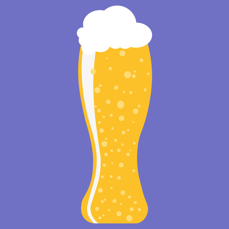 Glass of beer. Light beer with foam in glass isolated. Flat style vector illustration. Stock Illustratie