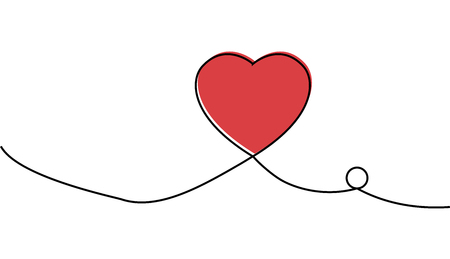 Continuous one line drawing of red heart isolated on white background. EPS10 vector illustration for banner, template, poster, web, app, valentines card, wedding. Black thin line image of heart icon. Stock Illustratie