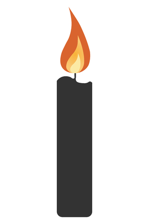 simple candle icon with shadow. concept of flaming candlestick, christianity attributes, shining, meditation. isolated on gray background. flat style trend modern design vector illustration