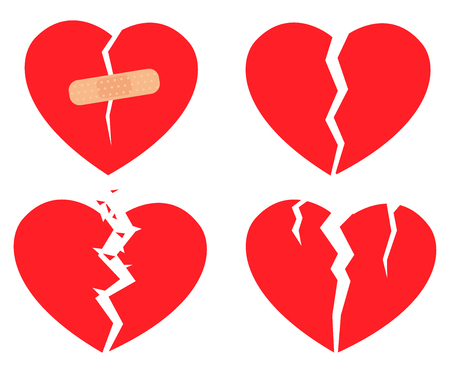 Set of icons Broken heart in red color on white background. Hurt love symbol. Vector illustration in eps10 format.