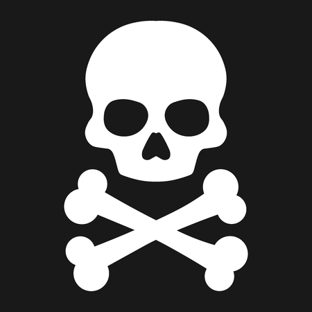 Crossbones, death skull, danger or poison flat icon for apps and websites