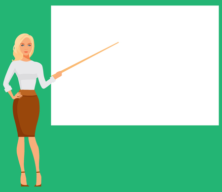 Businesswoman Pointing To Empty White Board, Showing An Copy Space, Business Woman Presentation Or Conference Concept Flat Vector Illustration