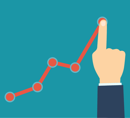 Finger up holding chart arrow. Businessman manages financial growth graph. Profit growing concept. business Vector flat cartoon design illustration. Isolated on white background.