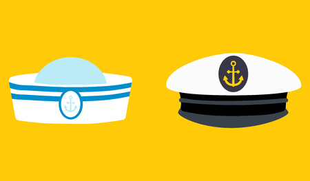 Sailor hat set, marine captain clothing.Concept for websites, web banner. Flat design vector illustration. EPS10 Stock Illustratie