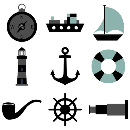 Solid Vector icon set, Marine anchor, boat, can be use for name card, poster, silk screen.