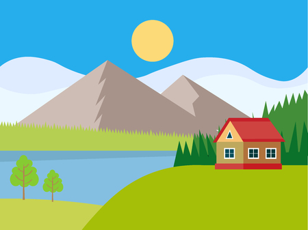 Houses in the mountains among the trees, rest in a mountain village the lake and the river. Flat design style vector illustration.