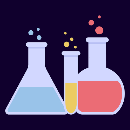 Laboratory glass flasks and test tubes with blue, yellow and pink liquid. Chemical and biological experiments. Vector illustration in flat style on dark background. Stock Illustratie