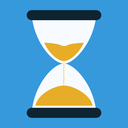 Hourglass time. Simple flat icon on blue background.Hourglass time. Simple flat icon on blue background.