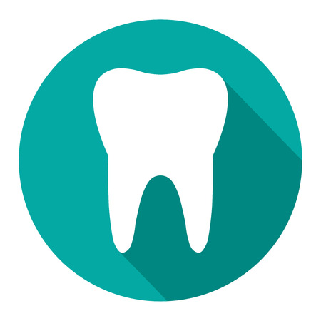 Tooth icon with long shadow. Flat design style. Tooth simple silhouette. Modern, minimalist icon in stylish colors. Web site page and mobile app design vector element. Stock Illustratie