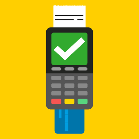 Payment by credit card using POS terminal, approved payment. Flat illustration. Stock Illustratie