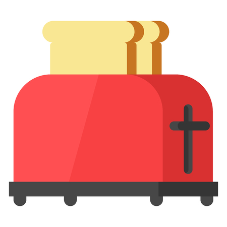 Steel toaster with two slices of bread, vector illustration in a flat style isolated on a white background