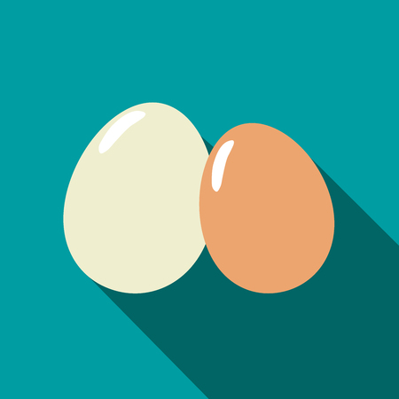two eggs in different colors. an icon in a flat design with long shadow. vector illustration