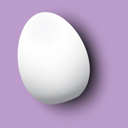 Realistic 3D White Egg. Egg on purple background with reflection. Design Template for Mock Up. Object for Easter Day Style Template. Vector illustration